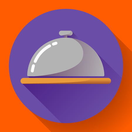 room service: Restaurant cloche vector icon. Room Service Symbol Button. restaurant metal tray flat icon with long shadow Illustration