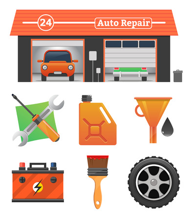 wash painting: Auto repair icons set Vector garage concept. Car tuning, gas station, oil, auto repair, battery charging, autocorrect, car painting. Car in garage, car wash