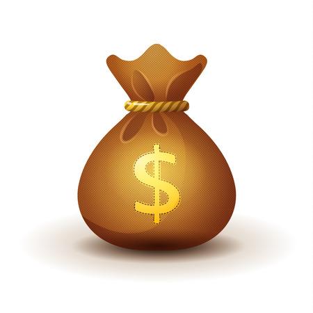 Gold money bag - realistic style. Game design. Deposit symbol