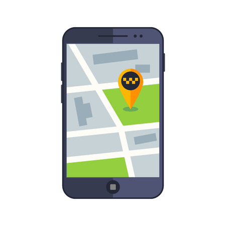 open car door: Taxi service. Flat yellow taxi with a driver. The car with the door open. car front view. Flat mobile phone with a label on the map. Application for taxi online. Illustration