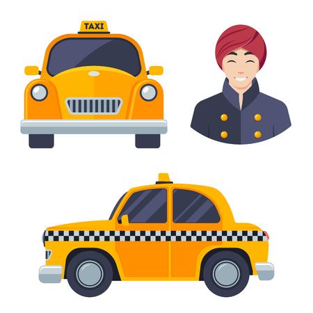 Indian hindu taxi car driver icon set. Illustration