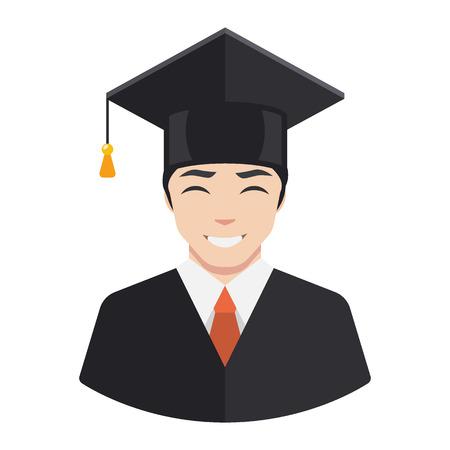 scholarship: Smiling graduate student male avatar flat icon