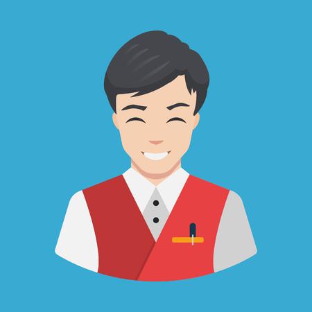 hotel staff: Hotel staff - Waiter Icon vector Flat design Smiling waiter serving Vector illustration