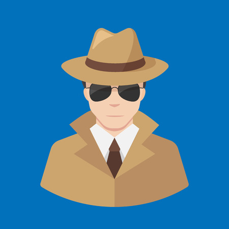 spotter: Flat male Detective icon vector - Professions icons. Illustration