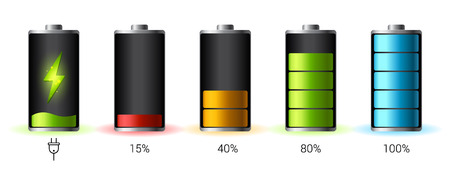 Discharged and fully charged battery smartphone -  infographic. Isolated on white background