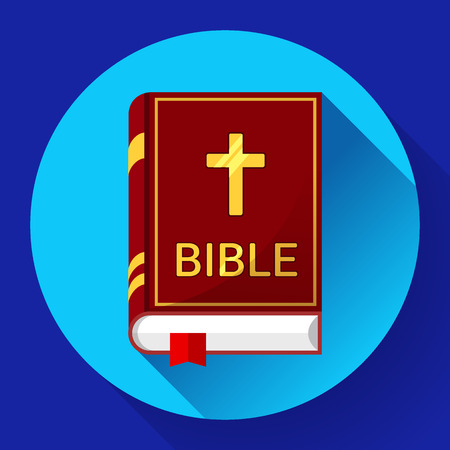 holy book: Holy Book icon bible icon flat with long shadow