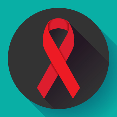 deficiency: World Aids Day red ribbon 1 december aids awareness day flat icon