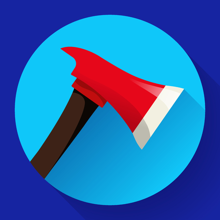 Red fire ax icon flat style. firefighter tool