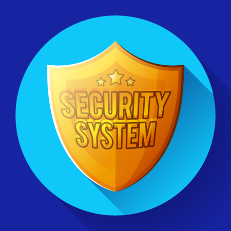 Gold shield icon - protection symbol. security system text Ilustrace
