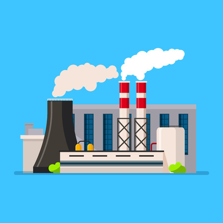 manufactory: Factory building icon vector set in the flat style. Industrial factory building concept isolated from the background. Manufacturing factory building.