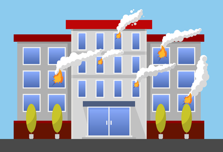 house fire: burning house - Fire Insurance Colourful Vector Illustration flat style.