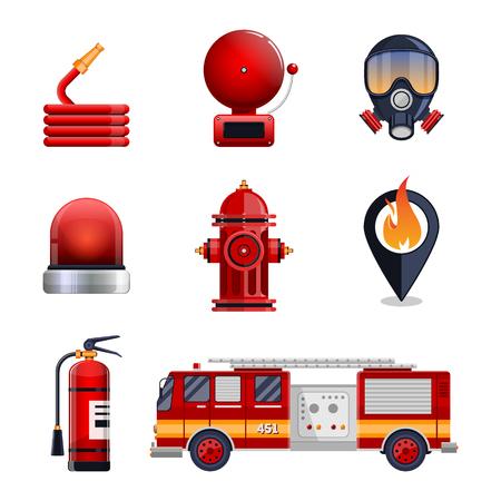 emergency engine: Firefighter elements set collection, including mask, hose, fire extinguisher, hydrant, gps location spot. fire engine car vector illustration.