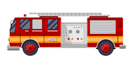voiture de pompiers: red fire truck fire engine on white vector illustration