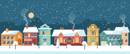 Snowy night in cozy town city panorama. Winter village landscape