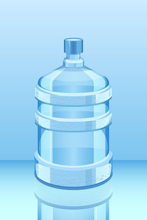 cooler water bottle reflected on blue vector illustration. Clean and fresh water