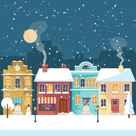Snowy night in cozy town city panorama. Winter village landscape Christmas greeting card