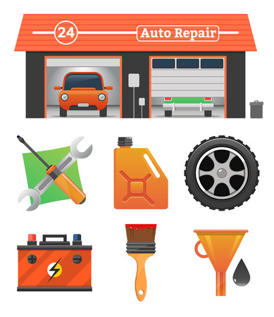 tire cover: Auto repair icons set Vector garage concept. Car tuning, gas station, oil, auto repair, battery charging, autocorrect, auto painting. Cars in garage, car wash Illustration