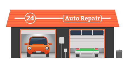 casing: Auto repair Vector flat garage concept. Car tuning, auto repair, battery charging, autocorrect, auto painting. Cars in garage, car wash