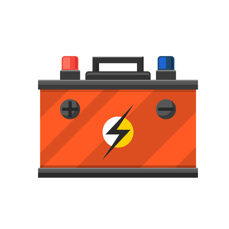 accumulator: Accumulator battery energy power and electricity. Accumulator battery generation energy. Battery accumulator car auto parts electrical supply power isolated vector Illustration