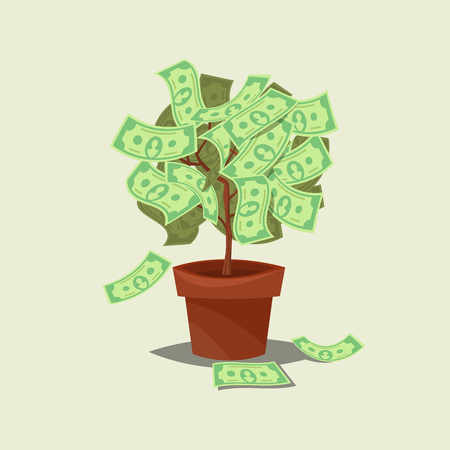 bank branch: Money tree icon flat Isolated on background