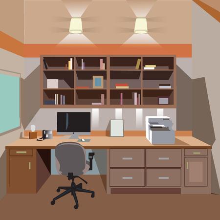 desktop printer: modern home office interior with desktop and printer