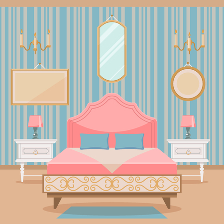 bedroom furniture: Bedroom interior with furniture in classic style. Illustration