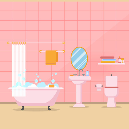 Modern bathroom interior with furniture in flat style vector Illustration