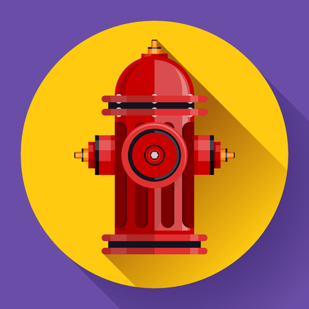 Red fire hydrant Vector icon for video, mobile apps.