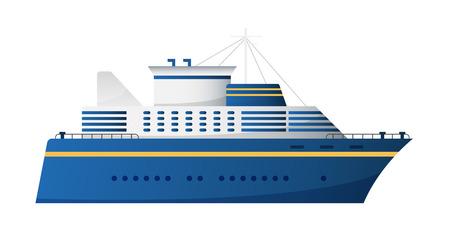 cruise liner: Vector seaway and ocean water transport passenger ship transatlantic cruise liner trendy flat design, side view