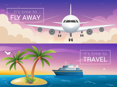 cruise liner: Vector travel banners set. Passenger airplane in the clouds., ocean sea cruise liner in the islands