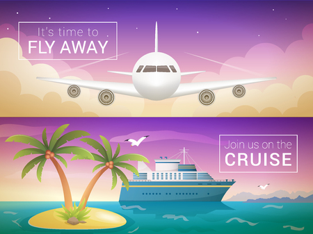 Vector travel banners set. Passenger airplane in the clouds., ocean sea cruise liner in the islands