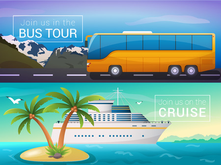 voyager: Vector travel banners set. Bus tour to Alps mountains, ocean sea cruise liner in the islands