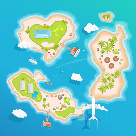 sea view: islands top aerial view - travel tourism vector illustration