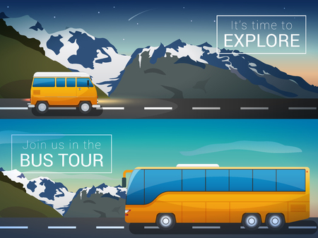 drive ticket: Vector travel banners set. Bus tour to Alps mountains, minibus in the wild, the company travelers