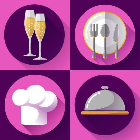 serving food: Restaurant icons set flat style Cooking and kitchen, serving food. Illustration