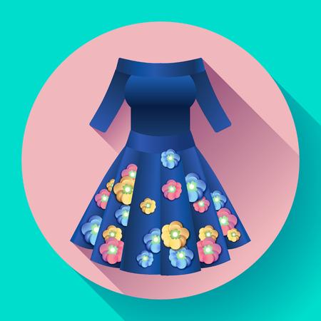 Flowery dress icon vector Illustration