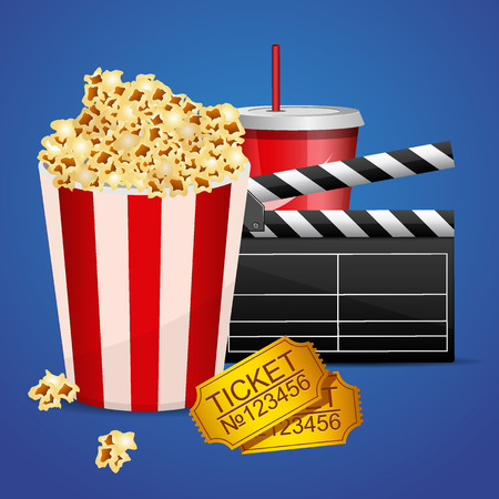 Realistic cinema movie poster template with film clapper, tickets, popcorn and cola Illustration