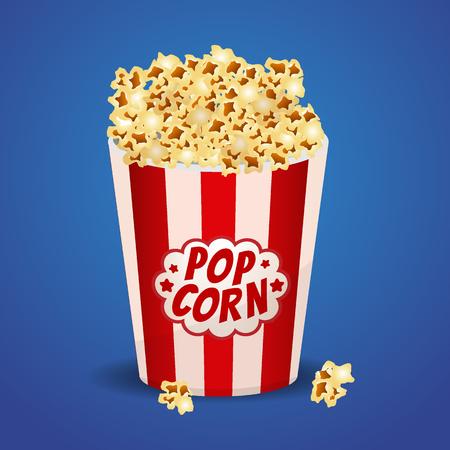 Popcorn in einem roten gestreiften Eimer.