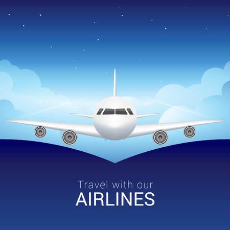 Passenger airplane in the sky clouds, safe flight across the sky Illustration