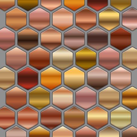 Bronze roze gold gradients set in hexagons. BIG Collection of beige gradient illustrations Illustration