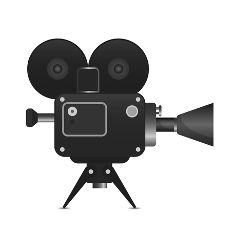 Retro movie projector detailed illustration.