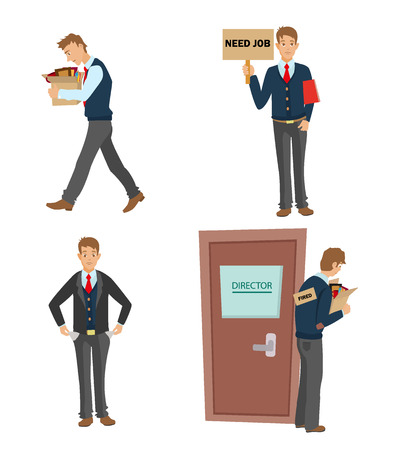 terminating: Getting fired flat vector illustration. man dismissed from work going with a box of personal belongings.