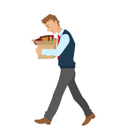 Getting fired flache Vektor-Illustration. Mann entlassen aus der Arbeit mit einer Schachtel mit persönlichen Gegenständen.