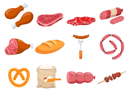Meat flour and bread flat icons set vector. Illustration