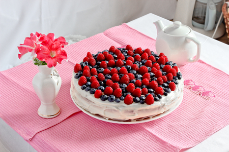 Creamy sweet cake Stock Photo
