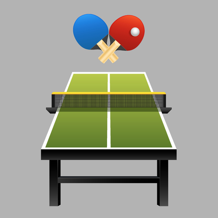 Table tennis rackets with ball on table vector illustration on dark background Illustration