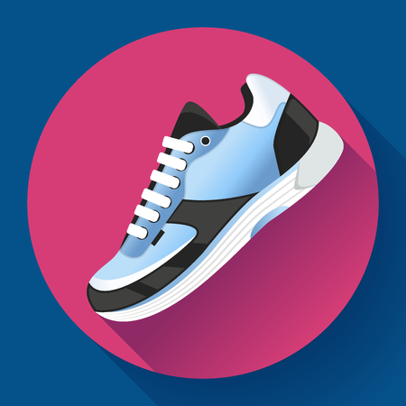 Fitness sneakers shoes for training running shoe flat design with long shadow. Ilustrace