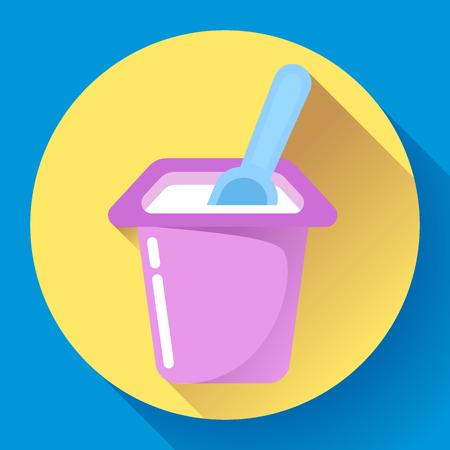 Tazza di yogurt con un cucchiaio piatto icona Illustrazione Vettoriale Archivio Fotografico - 75393766