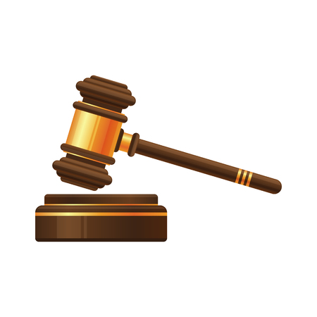 Judge gavel or auction hammer icon