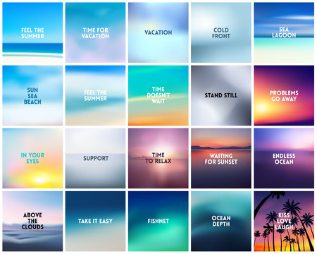 BIG set of 20 square blurred nature patterns. With various quotes Vetores